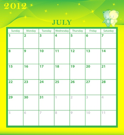 Calendar 2012 July month with large date boxes. Cartoon characters and patterned background. Vector