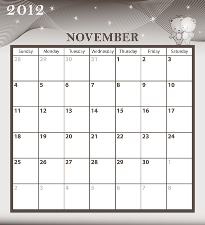 Calendar 2012 November month with large date boxes. Cartoon characters and patterned background.