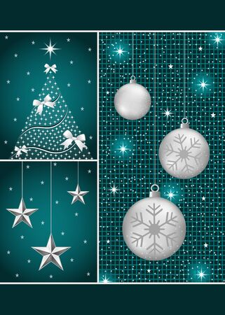 Christmas balls in silver with snowflakes, xmas tree and hanging stars on a dark blue themed background. Stock Vector - 10262732