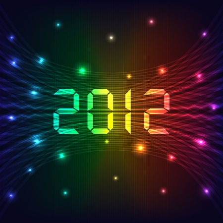 2012 Happy new year celebration background with neon lights style 2012 text. Glowing lights on dark background. Stock Vector - 10382178