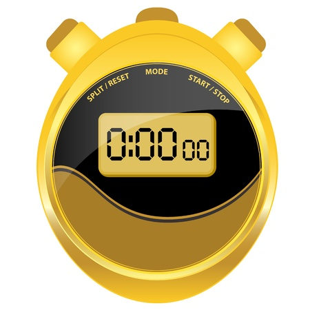 timer: Digital stopwatch in modern oval style set in a gold case with a black and brown clock face. Isolated on white. Illustration