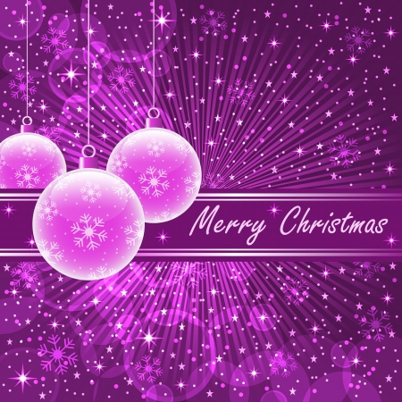 Christmas balls in translucent pink on purple sunburst background, snowflakes, bubbles, stars and snow. Vector