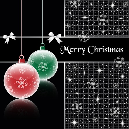 xmas decoration: Christmas balls, red and green on black background, decorated with snowflakes, stars, snow and bows.