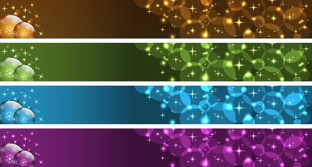 Kerst banners met xmas ballen, sterren en bubbels. Goud, groen, blauw en paars. Kopie ruimte voor tekst.