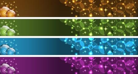 banner orizzontali: Striscioni di Natale con palline natale, stelle e bollicine. Oro, verde, blu e viola. Copia spazio per il testo.