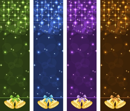 Christmas banners vertical with gold xmas bells, bows, stars and bubbles. Copy space for text. Vector