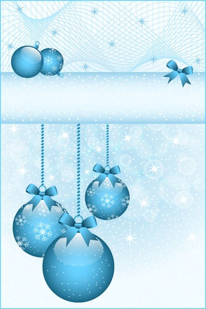 Blue christmas balls and bows decorated with snowflakes. Stars and snow in the background. Copy space for text.