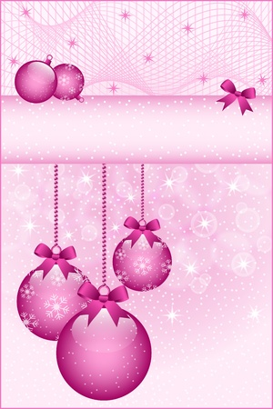 balls decorated: Rose pink christmas balls and bows decorated with snowflakes. Stars and snow in the background. Copy space for text.
