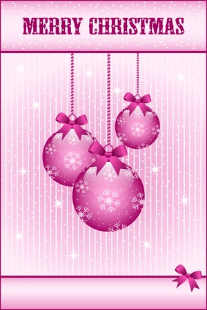 Rose pink christmas balls and bows decorated with snowflakes. Stars and snow in the background. Copy space for text. Stock Vector - 10836674