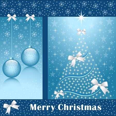 Christmas tree, balls, bows, stars, snowflakes and snow on a blue background. Stock Vector - 10836673