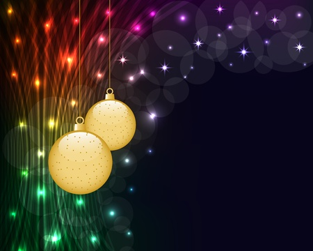 Christmas balls on dark abstract background of glowing neon lights. Copy space for text.