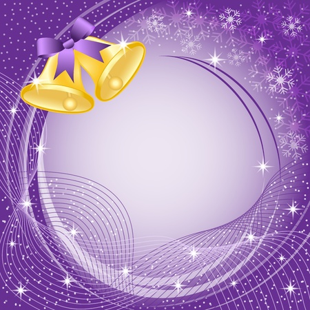 Gold christmas bells with bow, snow, stars and snowflakes on purple background. Copy space for text. Stock Vector - 10943030