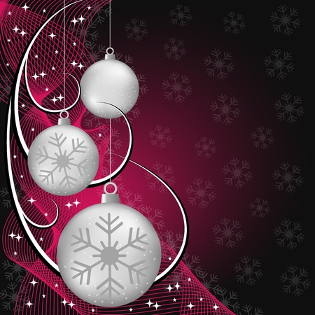 Silver christmas balls, wispy lines, stars and snowflakes on red and black background. Copy space for text. Vector