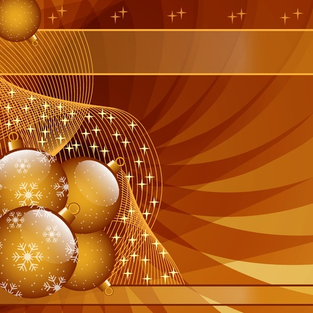 Gold Christmas balls on abstract wispy background decorated with stars and snowflakes. Copy space for text. Illustration