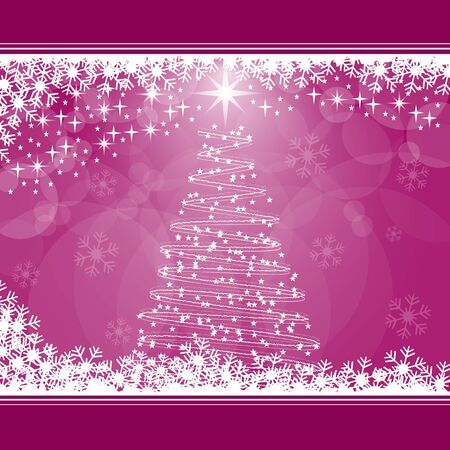 Christmas tree, snowflakes and stars on pink background. Copy space for text. Vector