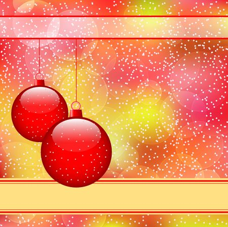 Red christmas balls on subtle colorful bokeh abstract background covered in snow. Copy space for text. Stock Vector - 11125433