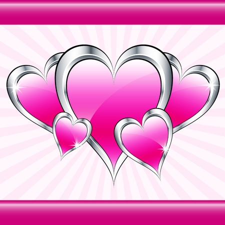 silver anniversary: Pink love hearts symbolizing valentines day, mothers day or wedding anniversary on a starburst background. Copy space for text.