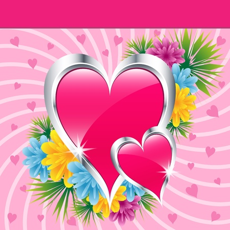 Pink love hearts and flowers symbolizing valentines day, mothers day or wedding anniversary. Copy space for text. Vector