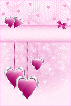 Pink love hearts symbolizing valentines day, mothers day or wedding anniversary. Copy space for text. Illustration