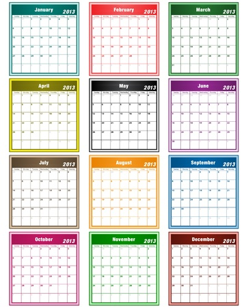 Calendar 2013 in assorted colors with large date boxes. Each month a different color. Vector