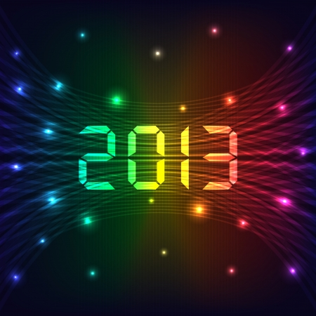2013 Happy new year celebration background with neon lights style 2013 text  Glowing lights on dark background  Illustration