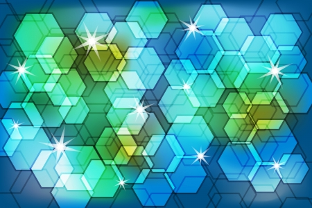 Abstract background with polygon bokeh effect in subtle blended colors decorated with stars. Stock Vector - 15138813