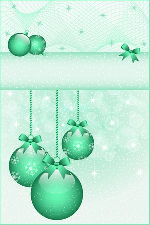 Green christmas balls and bows decorated with snowflakes  Stars and snow in the background  Copy space for text Stock Vector - 15605307