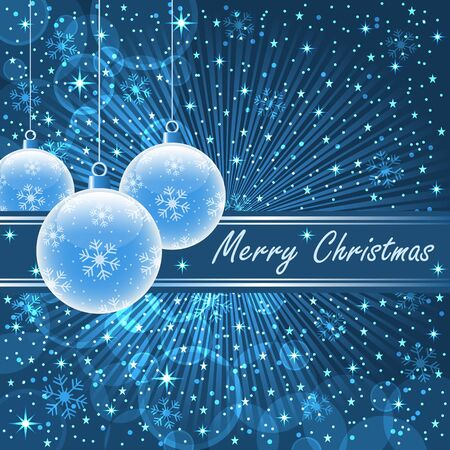 Christmas balls in translucent blue on a blue sunburst background, snowflakes, bubbles, stars and snow Stock Vector - 15605309