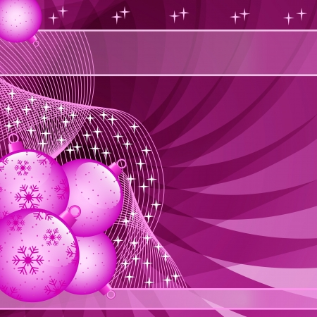 Pink Christmas balls on abstract wispy background decorated with stars and snowflakes  Copy space for text Stock Vector - 15605308