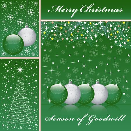 Christmas balls, xmas tree, snowflakes and stars set on a green background. Stock Vector - 15605310