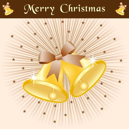 Christmas bells in gold with bows on a brown and beige sunburst background decorated with stars. Stock Vector - 15632915