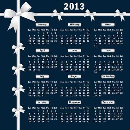 Calendar 2013 year with white bows on a dark background. Stock Vector - 15701027
