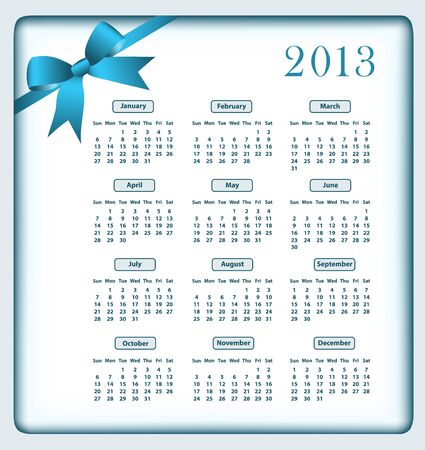 Calendar 2013 year with a blue bow. Stock Vector - 15701032