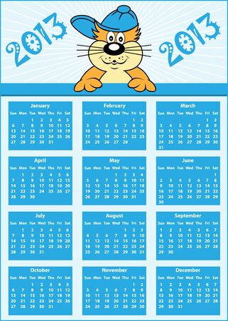 Calendar 2013 full year with cat cartoon character wearing baseball cap Vector