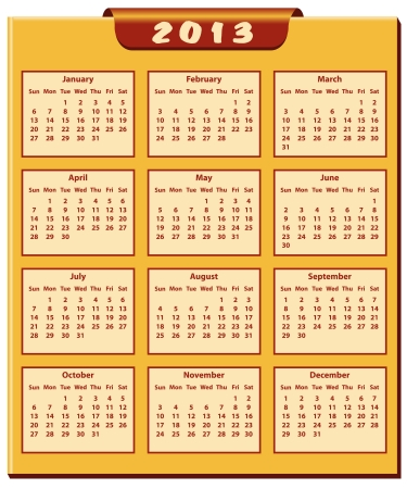 Calendar 2013 full year. January through to December months. Vector