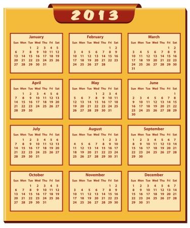 Calendar 2013 full year. January through to December months. Stock Vector - 15701038