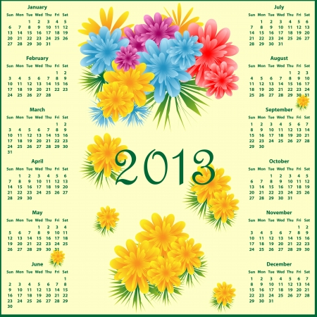 Calendar 2013 year decorated with colorful flowers. Vector