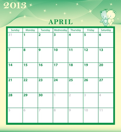 Calendar 2013 April month with large date boxes  Cartoon characters and patterned background  January to December months available  Vector