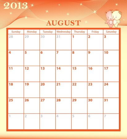 Calendar 2013 August month with large date boxes  Cartoon characters and patterned background  January to December months available  Vector
