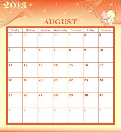 Calendario 2013 Agosto mes con grandes personajes de dibujos animados y edad de las cajas con dibujos de fondo enero a diciembre mes disponibles Foto de archivo - 15783785