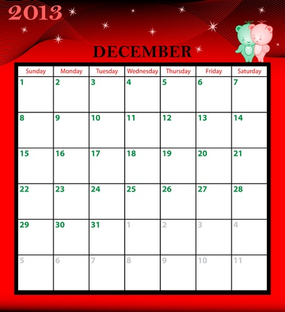 Calendar 2013 December month with large date boxes  Cartoon characters and patterned background  January to December months available  Vector