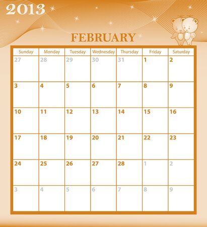 Calendar 2013 February month with large date boxes  Cartoon characters and patterned background  January to December months available  Vector