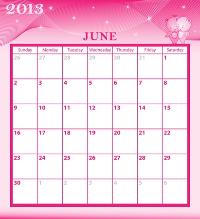 Calendar 2013 June  month with large date boxes  Cartoon characters and patterned background  January to December months available Stock Vector - 15783790