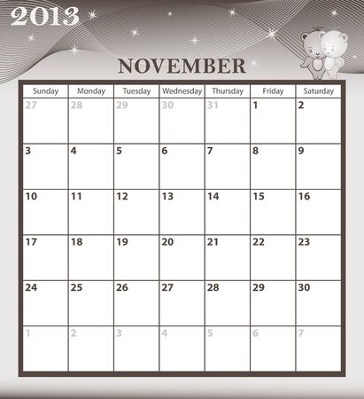 Calendar 2013 November month with large date boxes  Cartoon characters and patterned background  January to December months available  Stock Vector - 15783786
