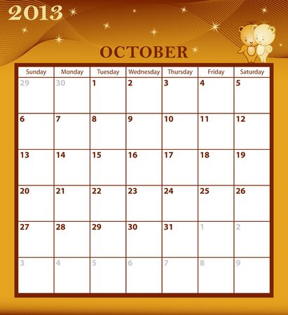 Calendar 2013 October month with large date boxes  Cartoon characters and patterned background  January to December months available  Stock Vector - 15783794