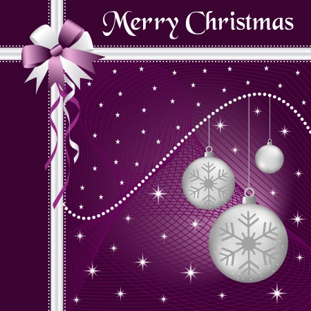 Silver christmas balls with purple and silver bow and ribbon, decorated with stars on a purple glowing background. Vector