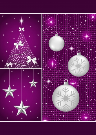 Christmas balls in silver with snowflakes, xmas tree and hanging stars on a purple themed background. Vector