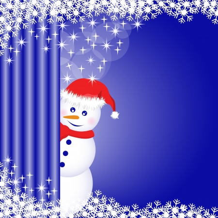 Snowman peeping behind a curtain, snowflakes and stars on a deep blue xmas background. Copy space for text. Stock Vector - 15817996