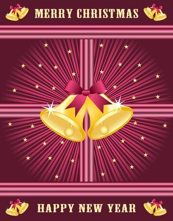 Gold christmas bells with burgundy bows set on a burgundy sunburst background decorated with stars. Stock Vector - 15817991