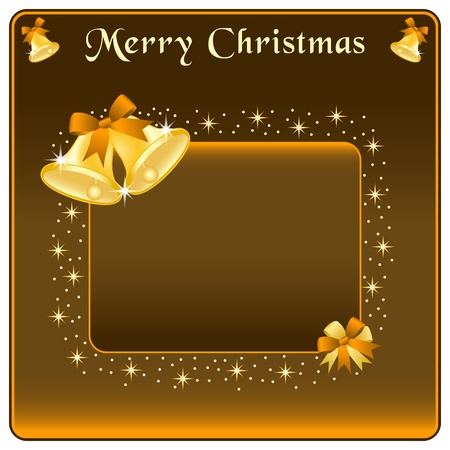 Christmas bells in gold, brown bow and stars. Copy space for text. Vector